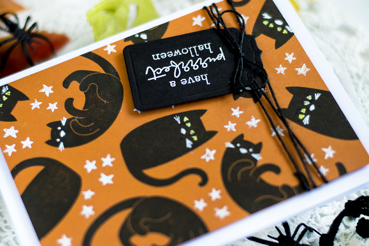 Halloween Cat Background Card. Card by Svitlana Shayevich