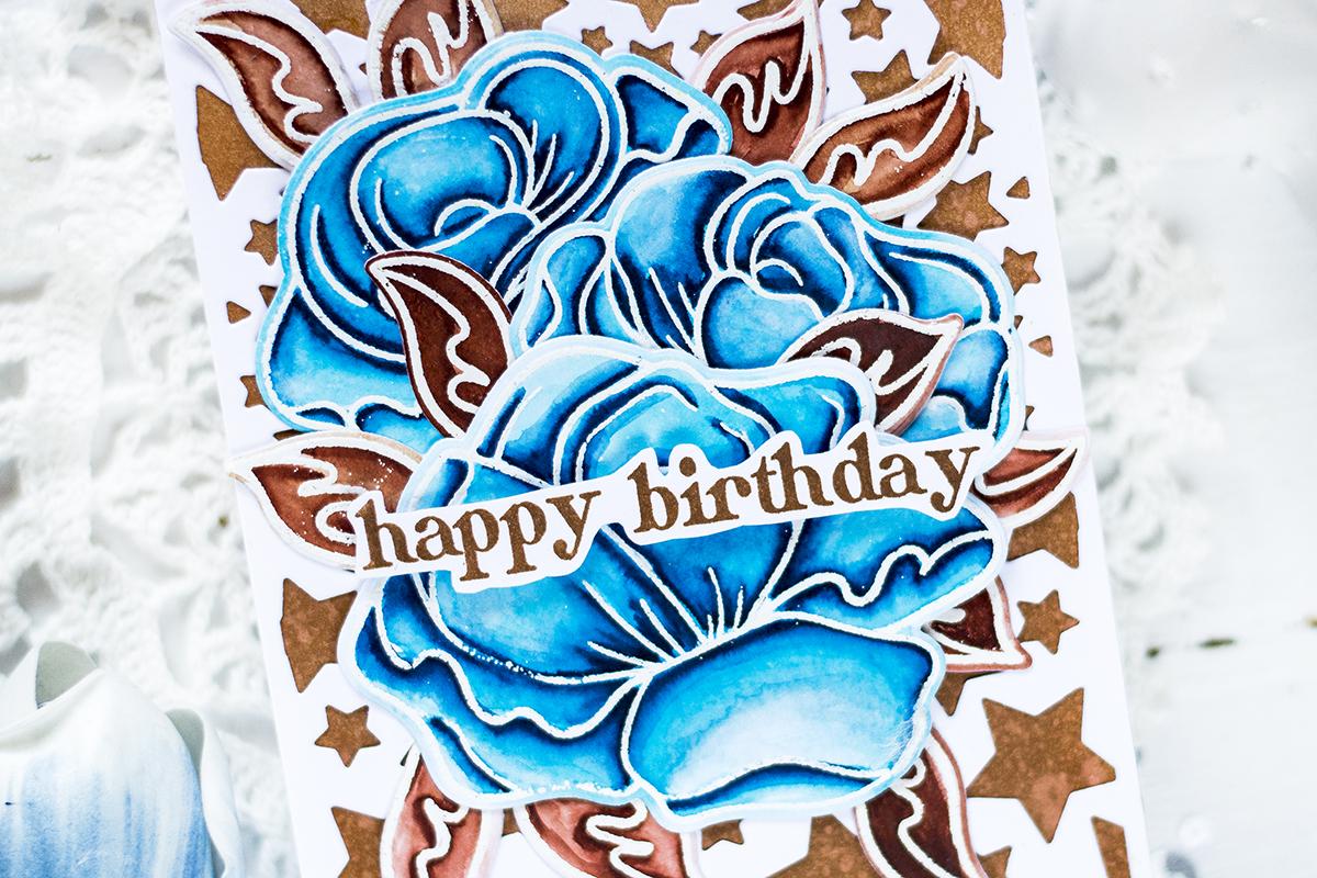 Watercolor Roses Birthday Card. Card by Svitlana Shayevich