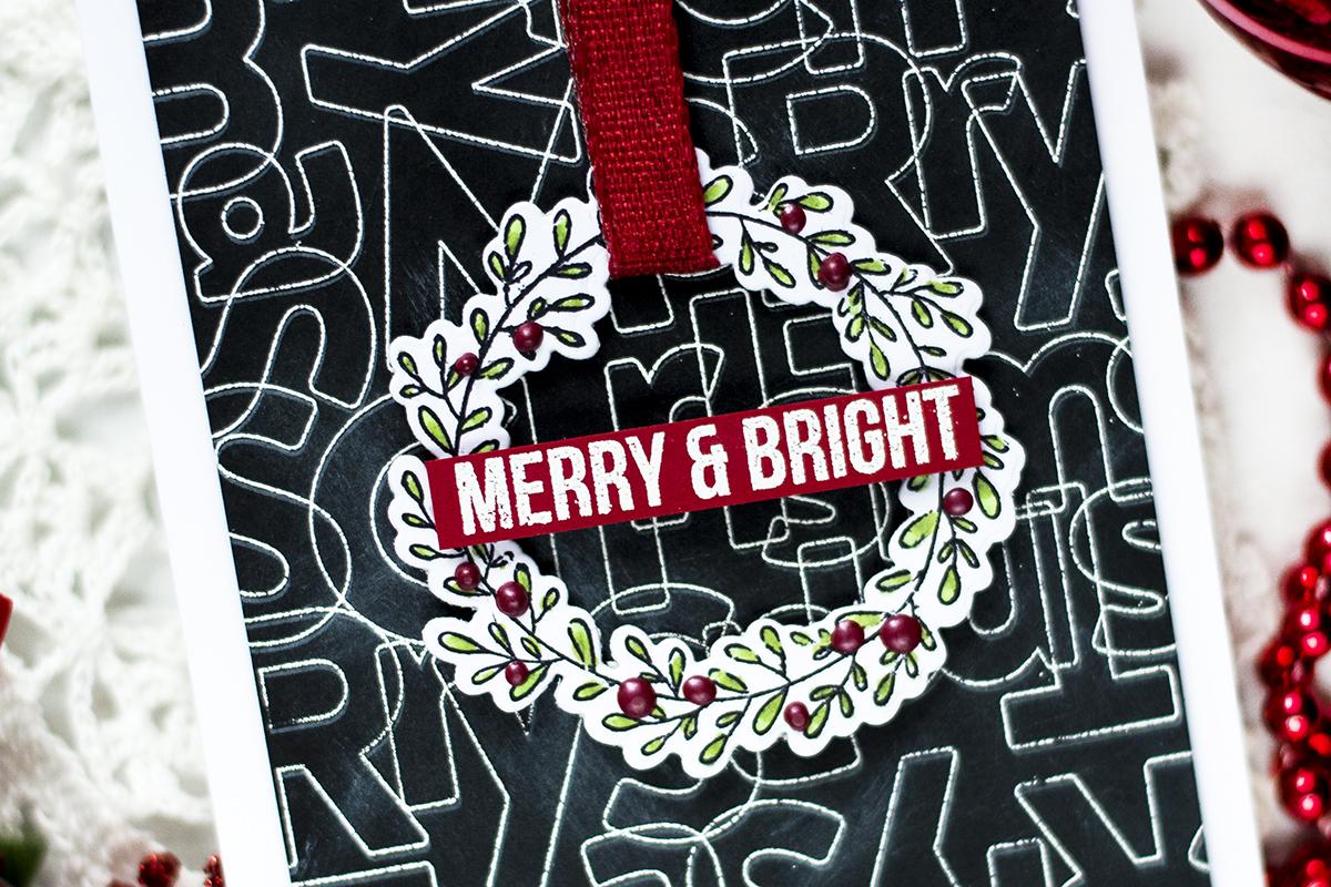 Chalkboard Background Christmas Wreath Card. Card by Svitlana Shayevich