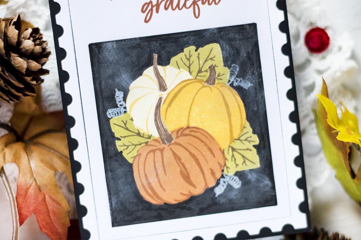 Grateful Chalkboard Postage Card. Card by Svitlana Shayevich