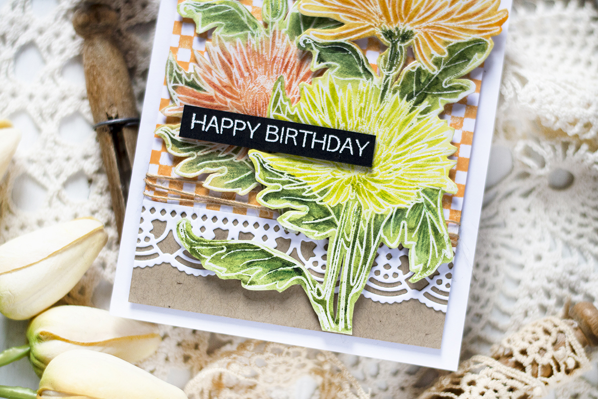 Cozy Mum Flowers Birthday Card. Card by Svitlana Shayevich