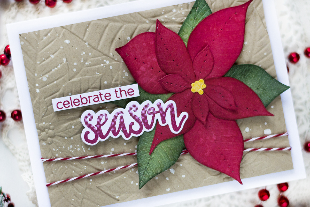 Embossed Background Poinsettia Christmas Card. Card by Svitlana Shayevich