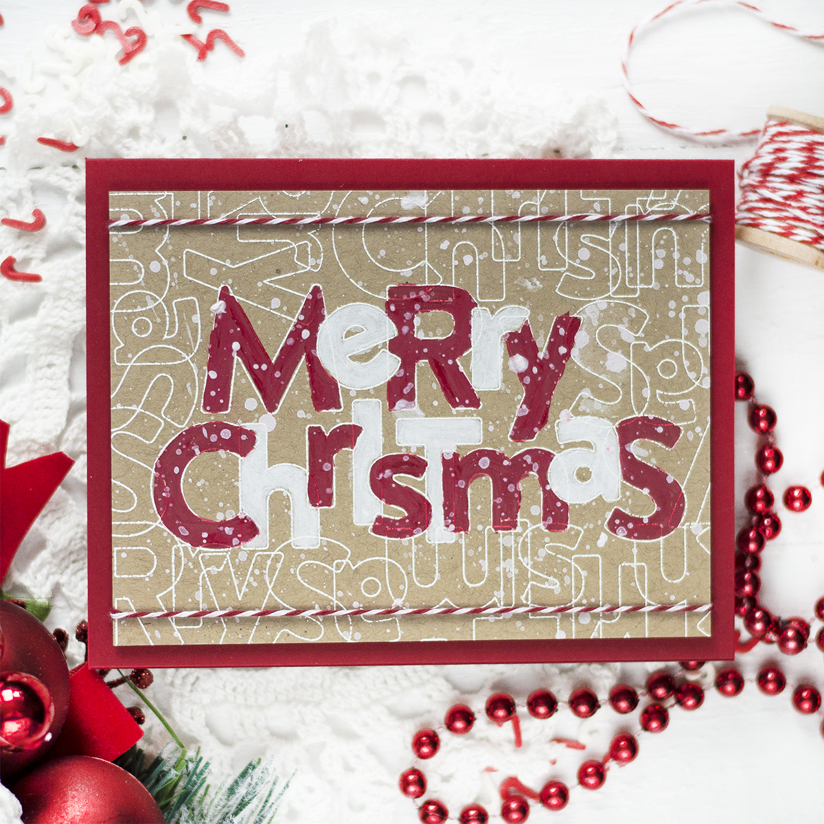 Painted Sentiment Christmas Card. Card by Svitlana Shayevich
