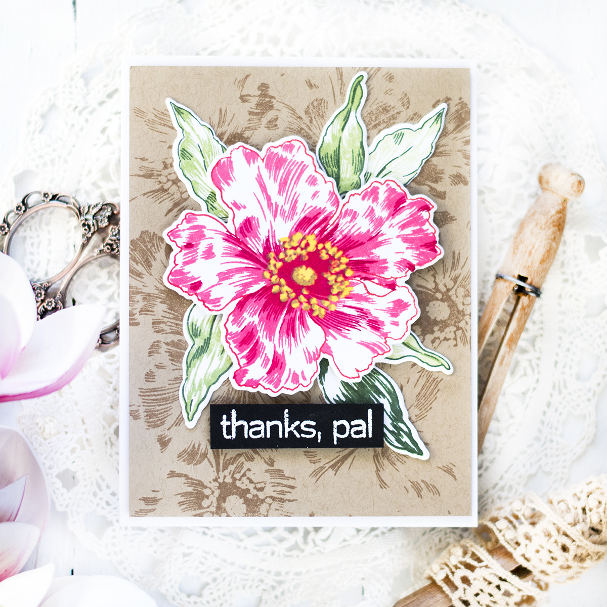 Kraft Background Floral Card. Card by Svitlana Shayevich