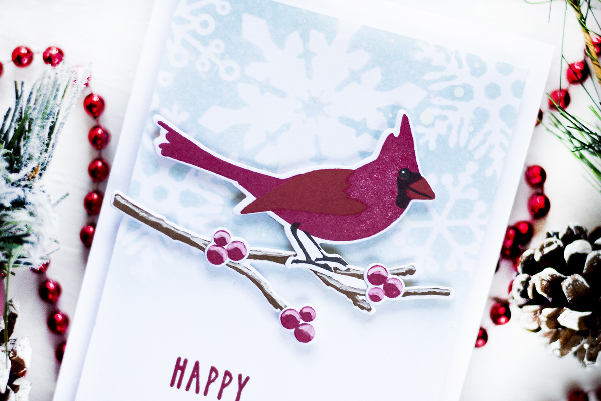 Winter Cardinal Christmas Card. Project by Svitlana Shayevich