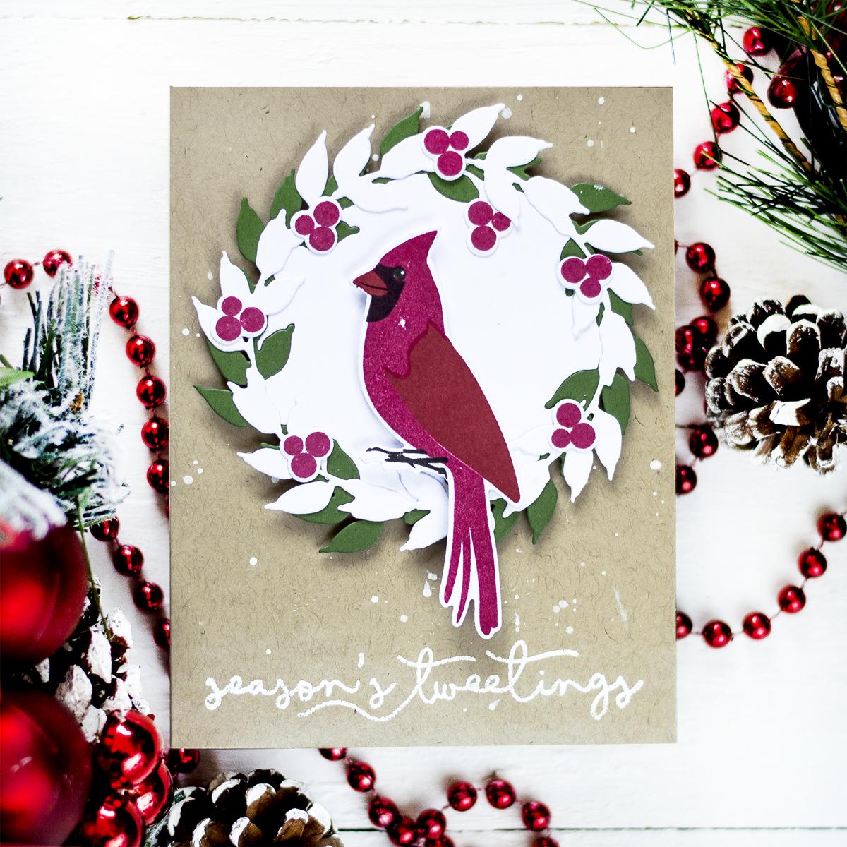 Wreath Cardinal Christmas Card. Card by Svitlana Shayevich