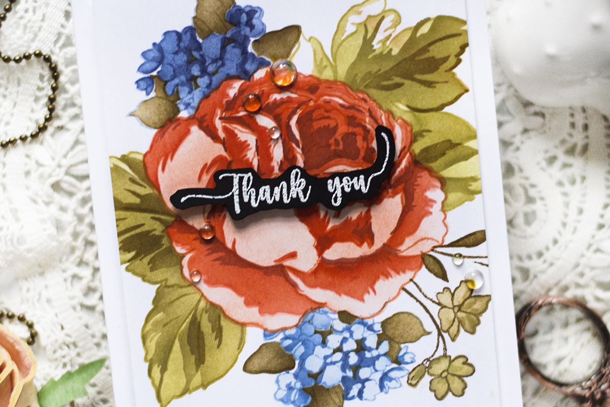 Floral Card Using Coloring Stencils. Card by Svitlana Shayevich