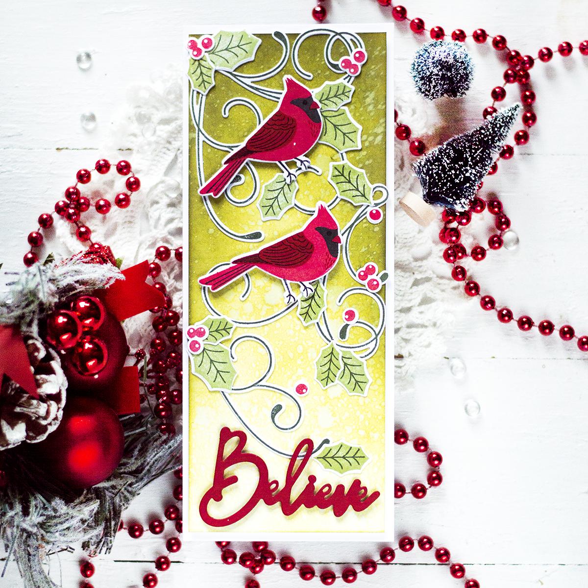 Christmas Cardinals Slimline Card. Card by Svitlana Shayevich