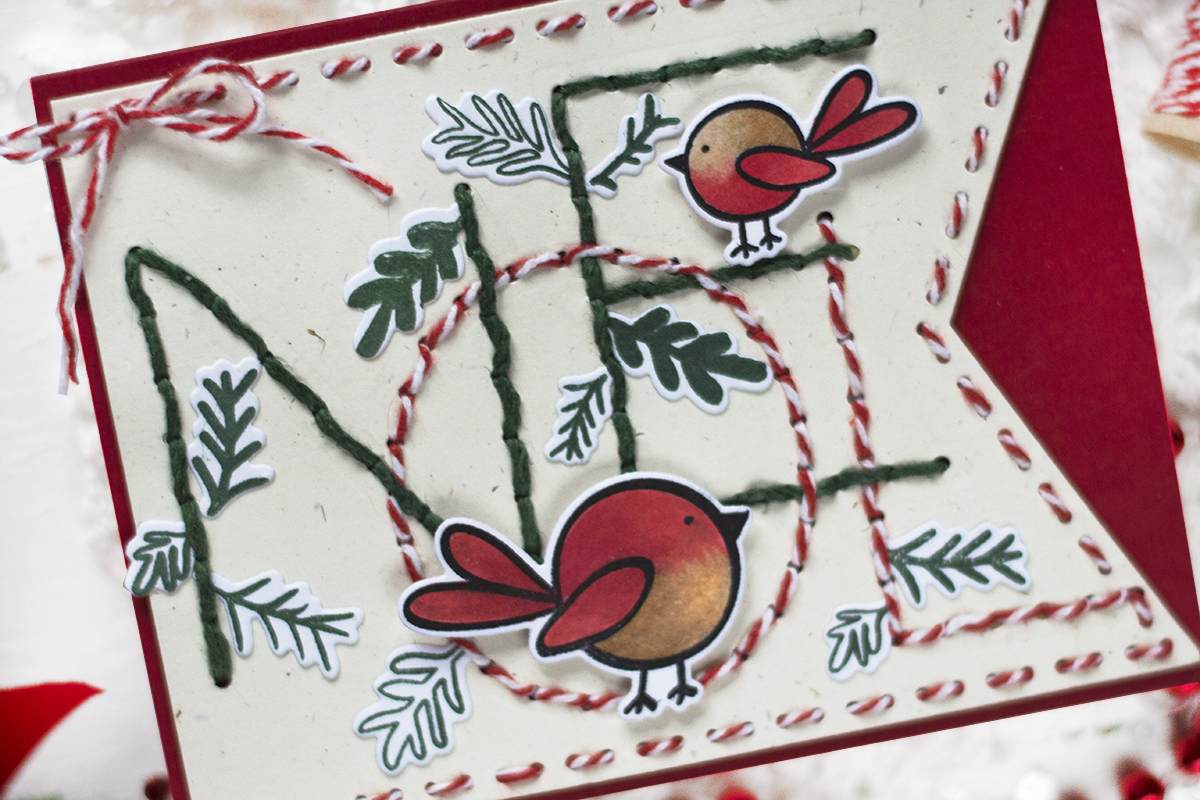 Stitched Noel Banner Christmas Card. Card by Svitlana Shayevich