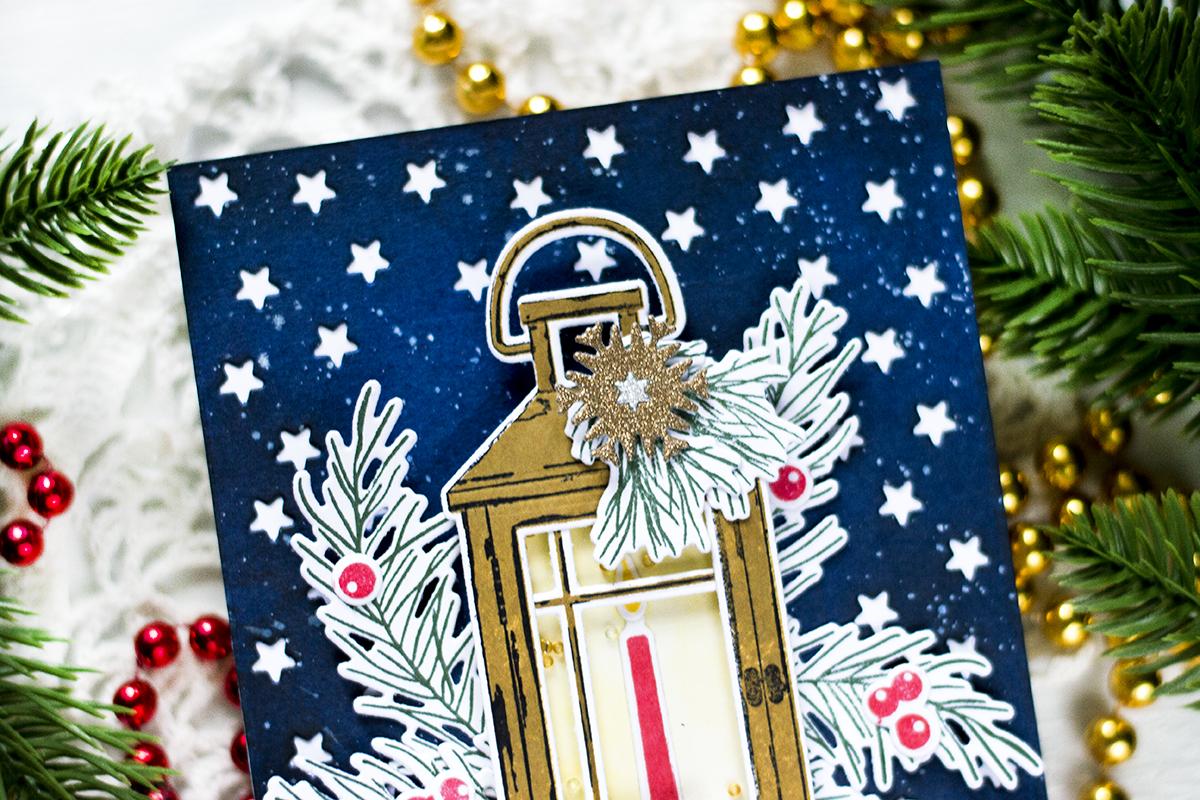 Vintage Lantern Holiday Shaker Card. Card by Svitlana Shayevich