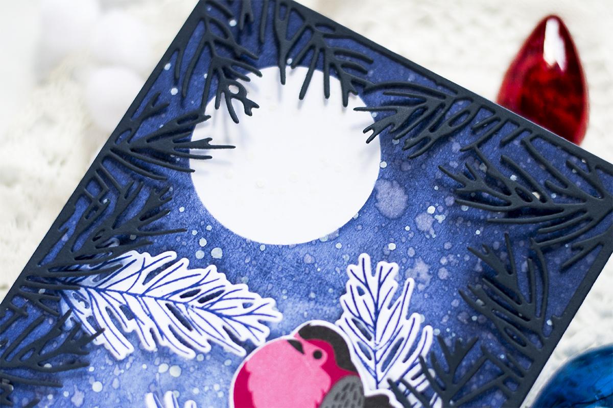 Night Bullfinch Scene Holiday Card. Card by Svitlana Shayevich