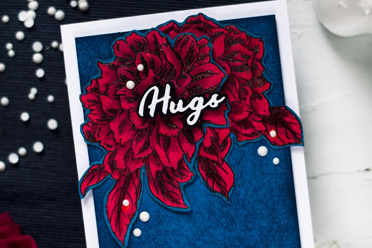 Bold Floral Hugs Card. Card by Svitlana Shayevich