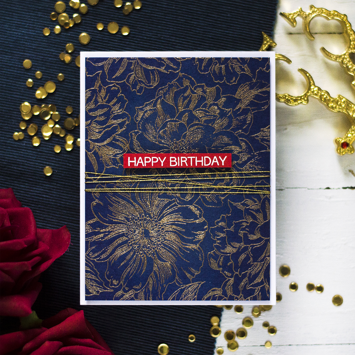 Bold Gold Embossed Background. Card by Svitlana Shayevich