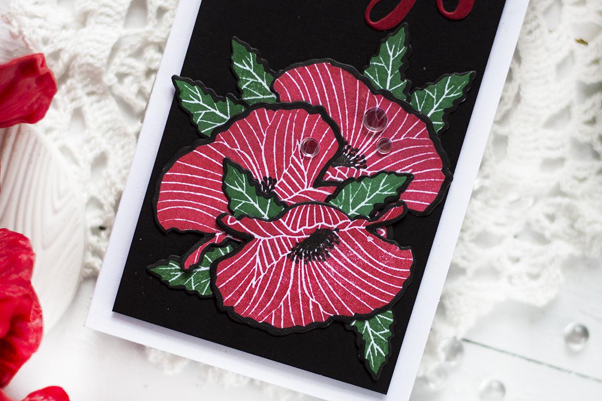 Dramatic Slimline Poppy Card. Card by Svitlana Shayevich