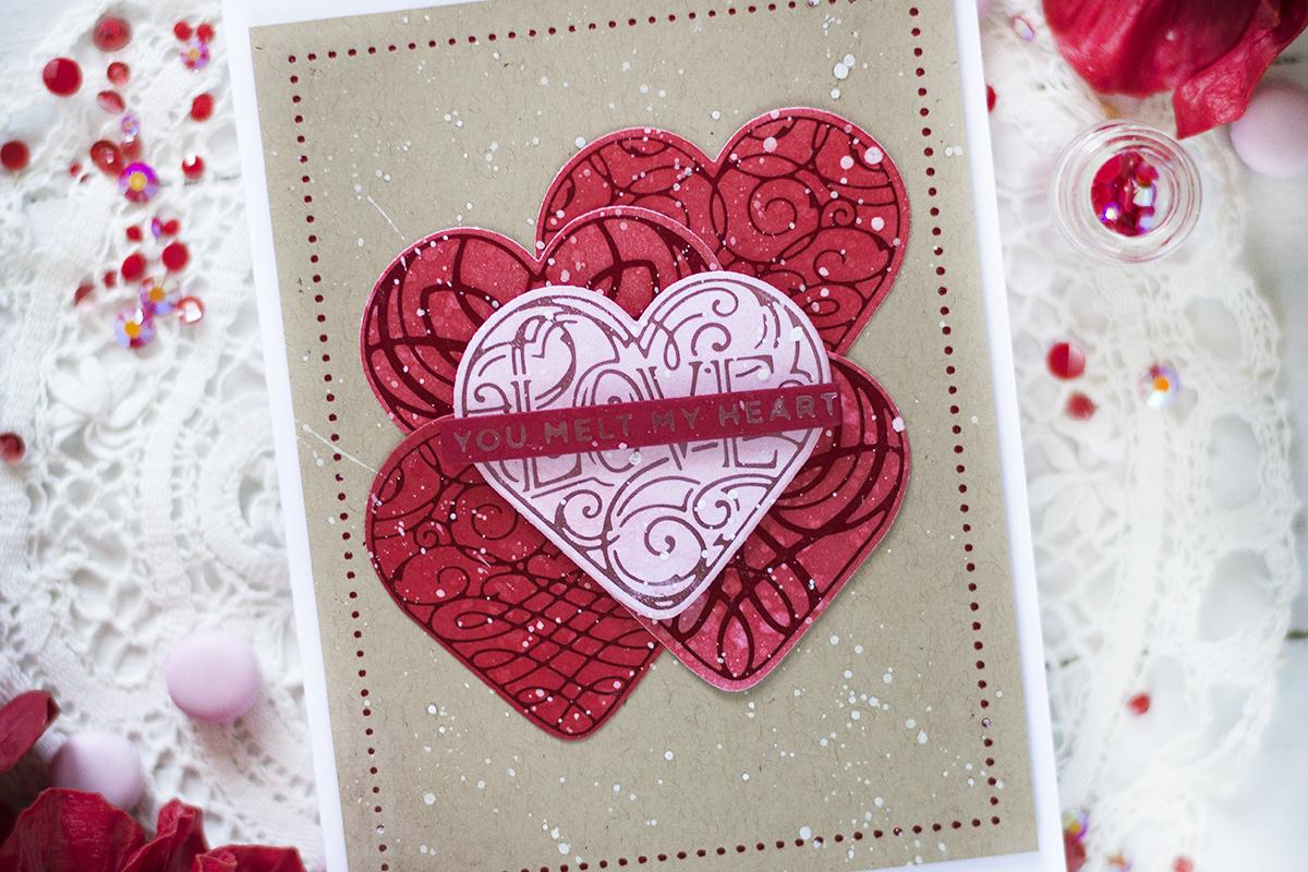 Folied Hearts Valentine Card. Card by Svitlana Shayevich
