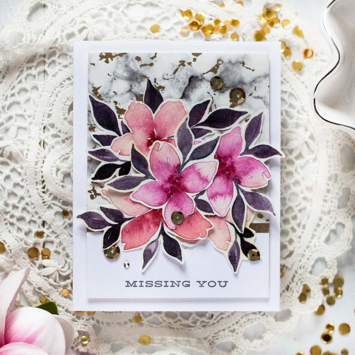 Easy Floral Foiled Marble Card. Card by Svitlana Shayevich