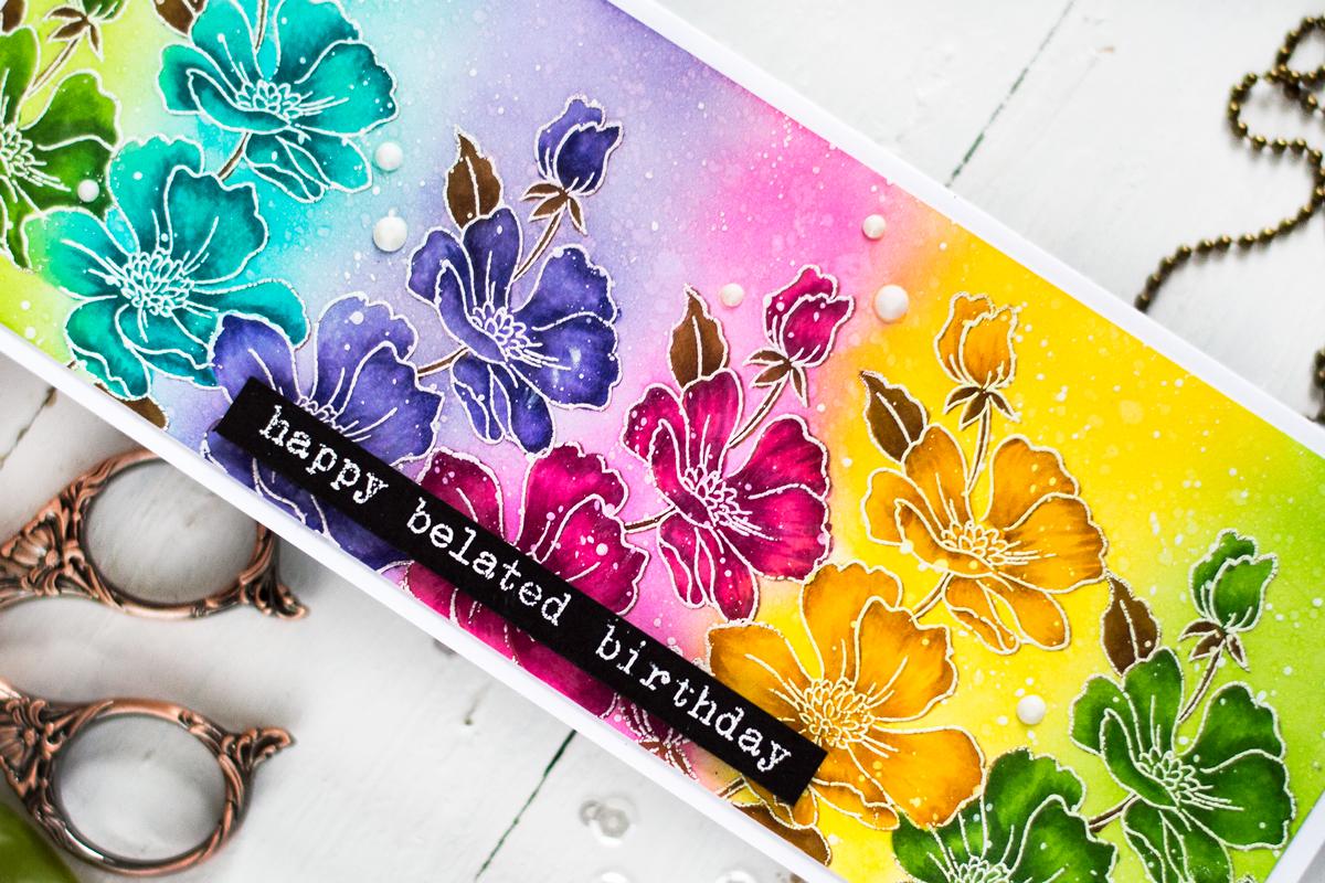 Rainbow Floral Slimline Card. Card by Svitlana Shayevich