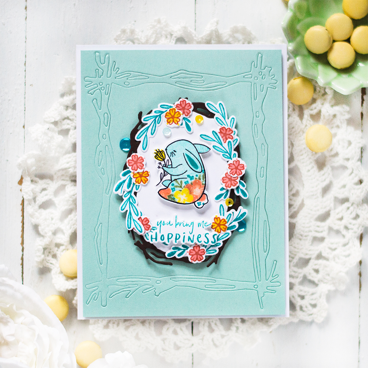 Bunny Wreath Spring Card. Card by Svitlana Shayevich