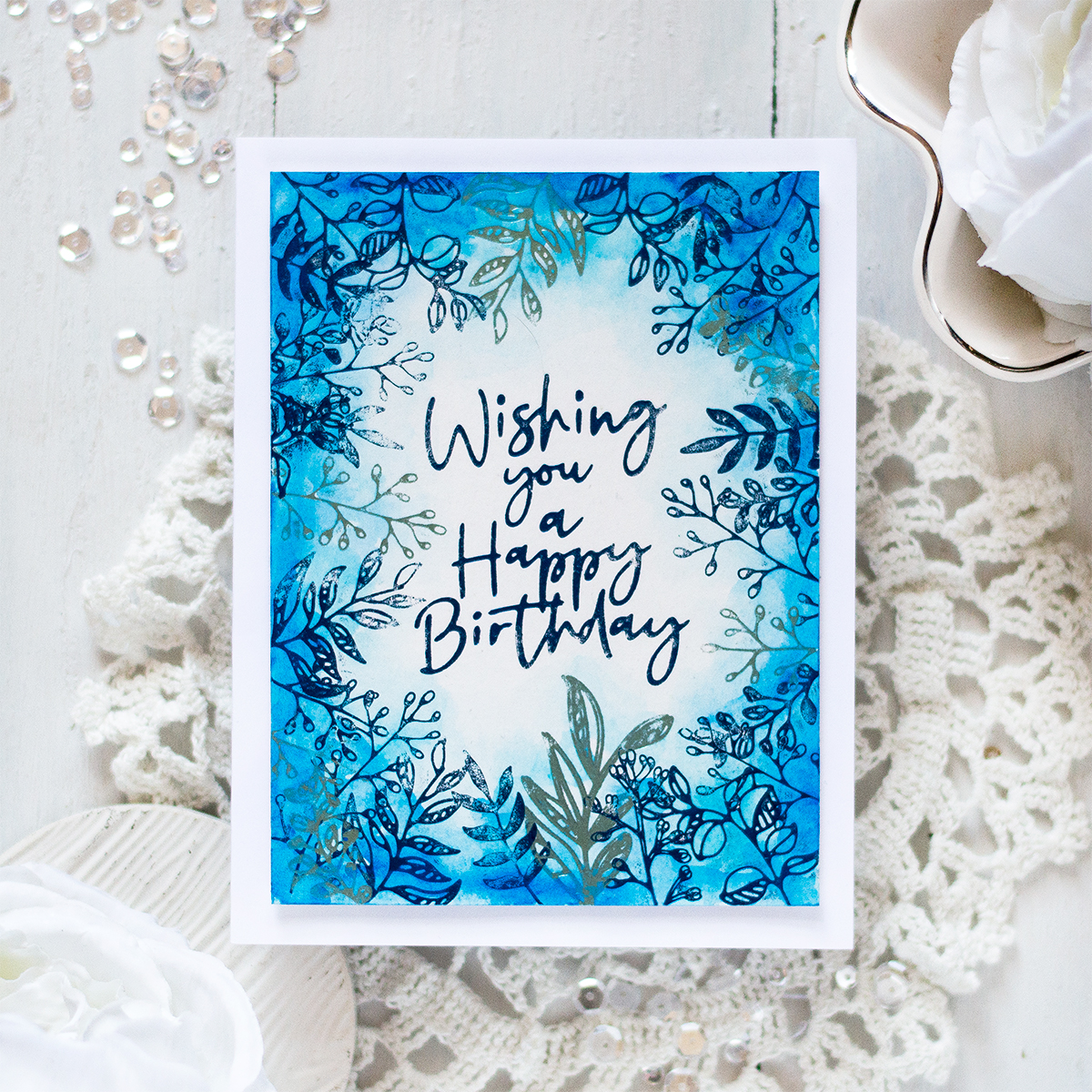 Monochromatic Foil and Watercolor Birthday Card. Card by Svitlana Shayevich