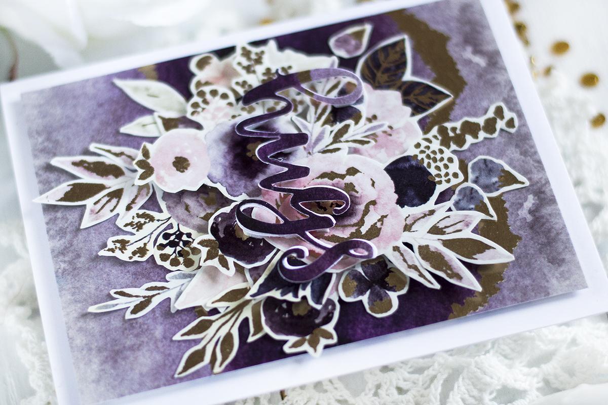 No Stamping Floral Card. Card by Svitlana Shayevich