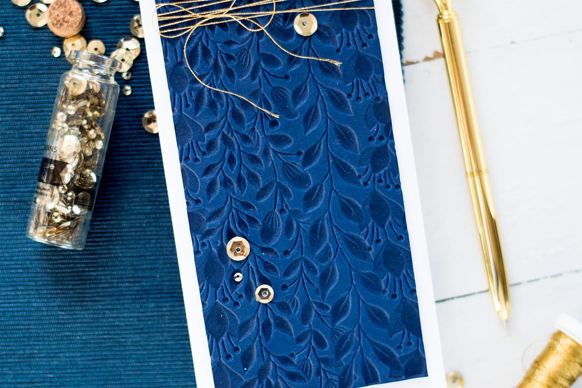 Bold Gold and Navy Slimline Card. Card by Svitlana Shayevich