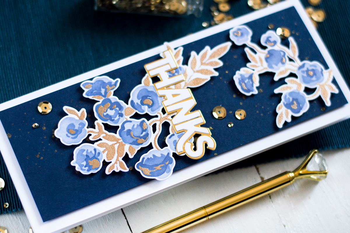 Gold And Navy Floral Card. Card by Svitlana Shayevich