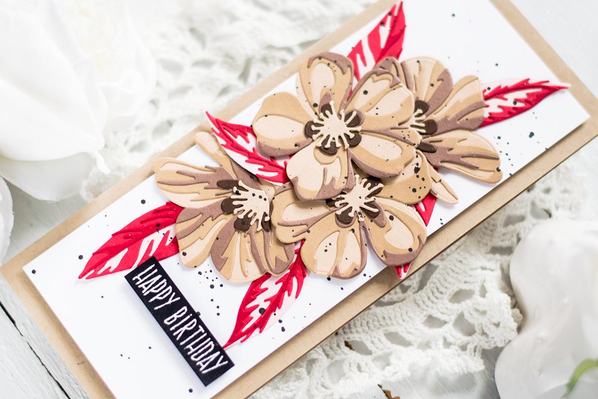 Layered Florals Slimline Card. Card by Svitlana Shayevich