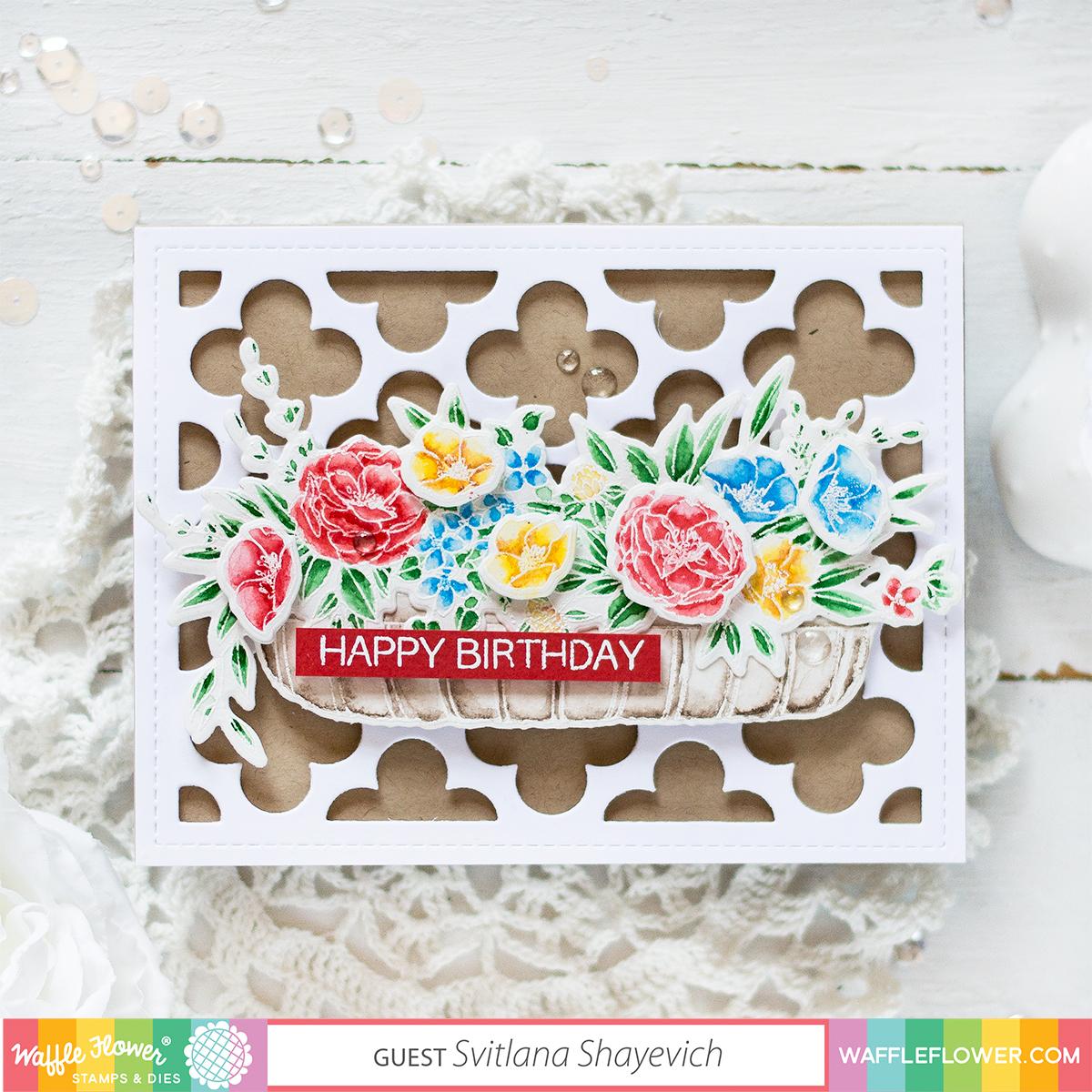 Watercolor Bouquet Birthday Card. Card by Svitlana Shayevich