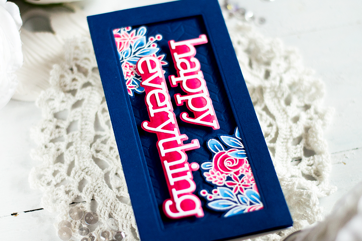 Bold Red and Nave Slimline Card. Card by Svitlana Shayevich