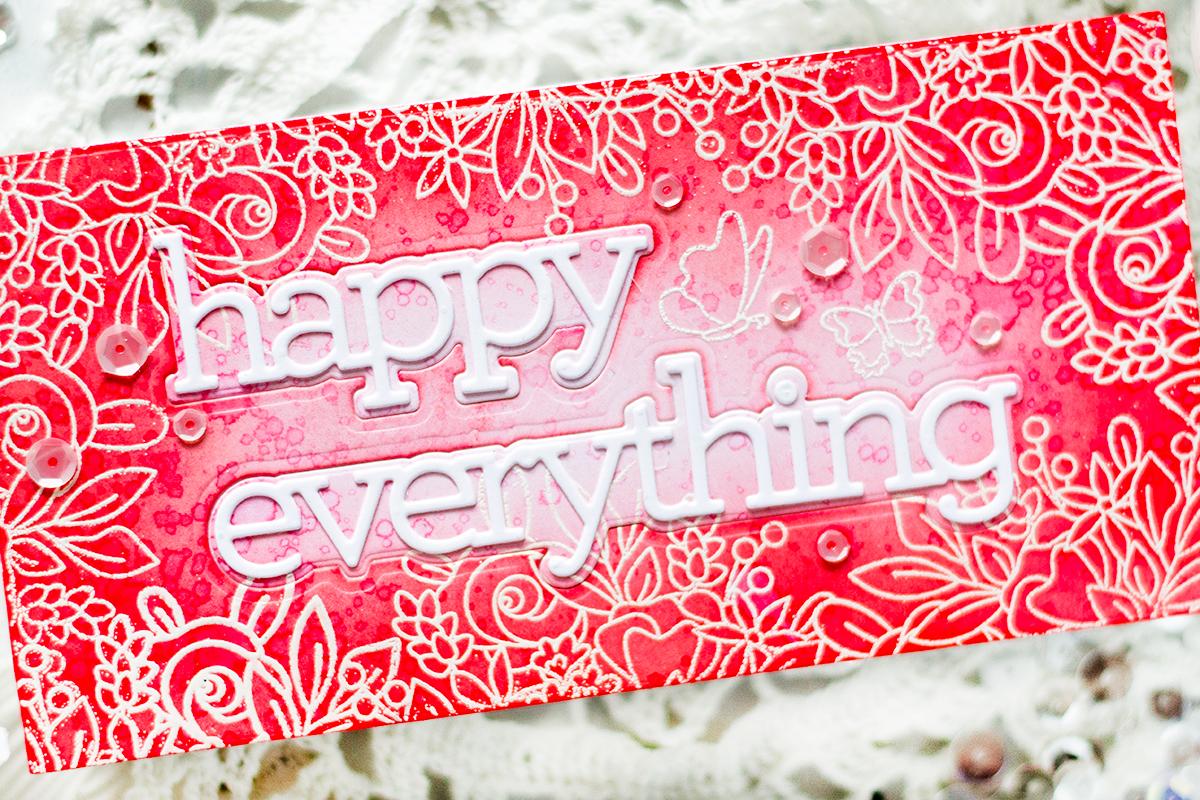 Monochromatic Mini Slimline Floral Card. Card by Svitlana Shayevich