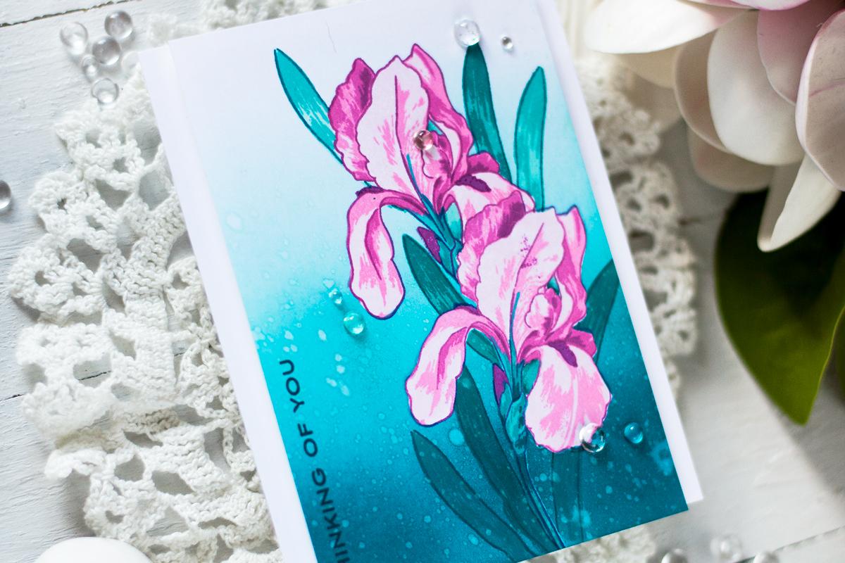 Bold Iris Flower Card. Card by Svitlana Shayevich