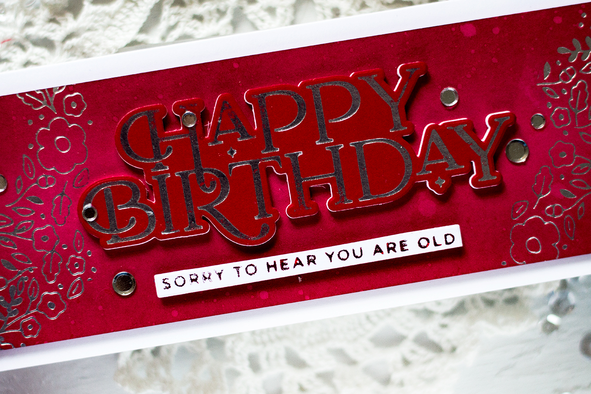 Monochromatic Foilde Birthday Card. Card by Svitlana Shayevich