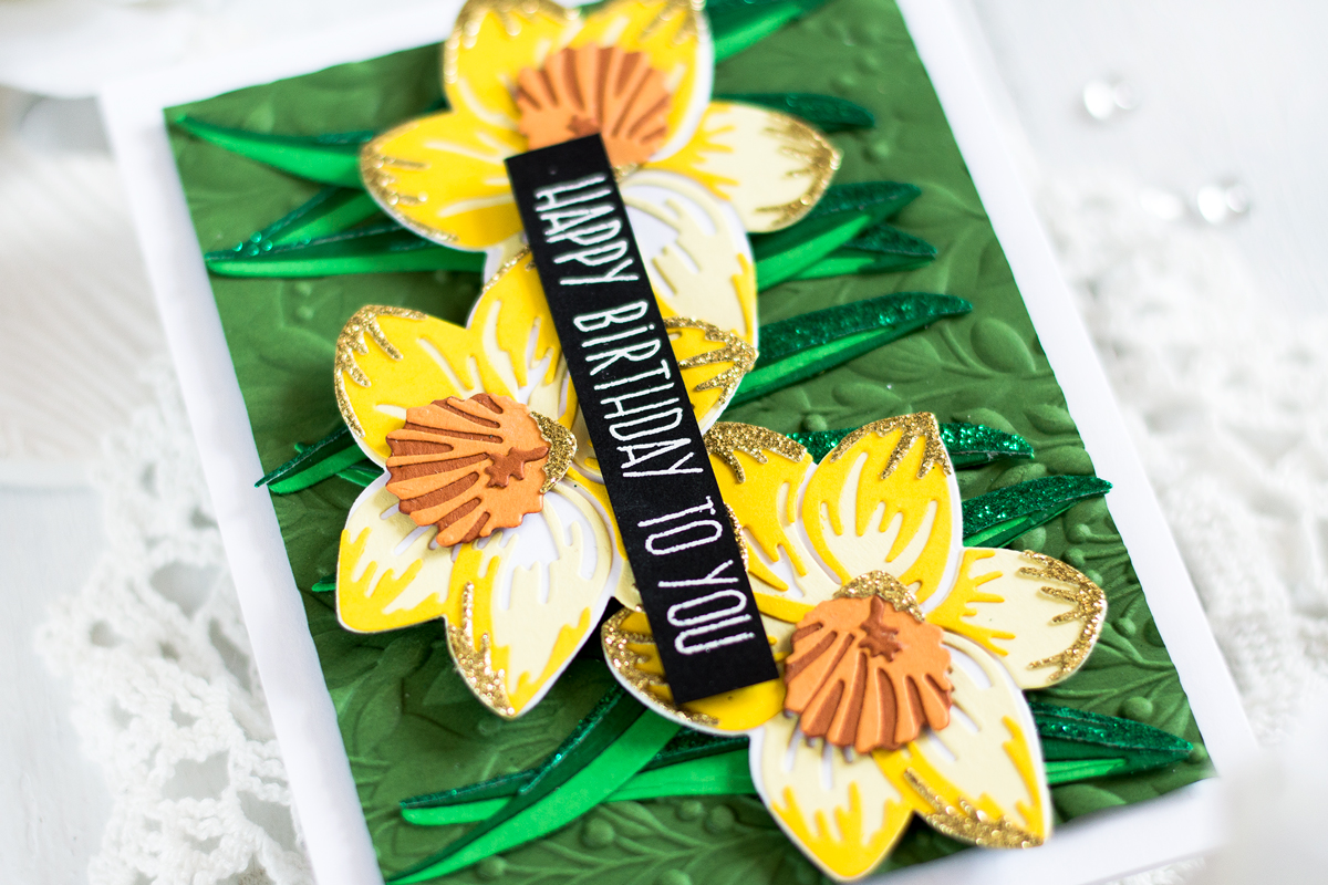 Floral Daffodil Card with Glitter Accents. Card by Svitlana Shayevich