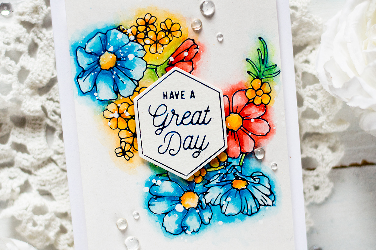 Watercolor Foiled Floral Card. Card by Svitlana Shayevich