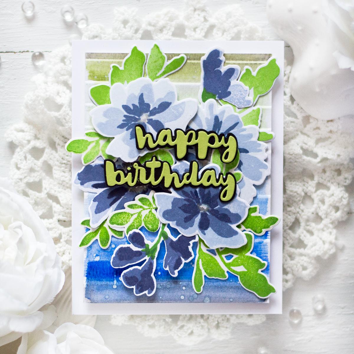 Faux Watercolor Birthday Card. Card by Svitlana Shayevich