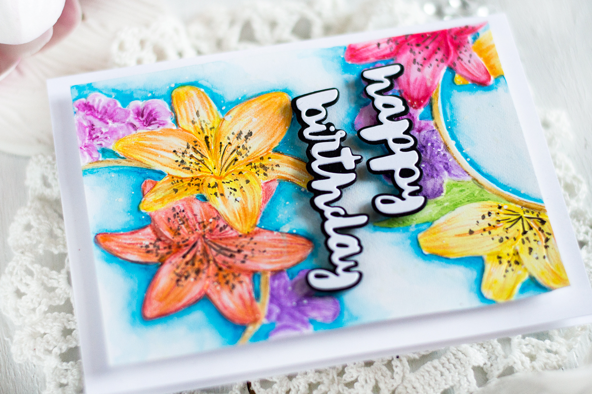 Pencils Colored Dry Embossed Design. Card by Svitlana Shayevich