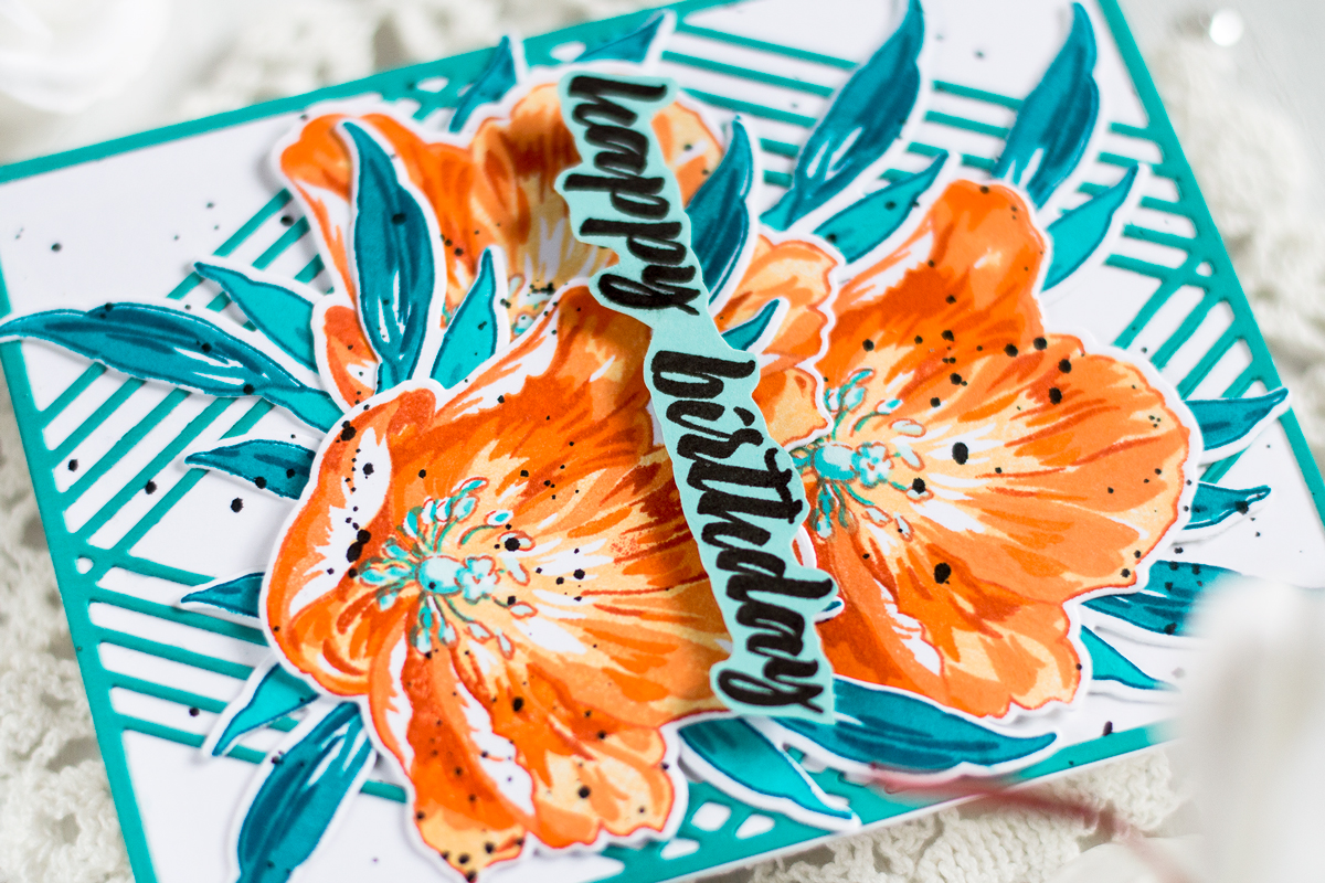 Geometric Floral Orange and Teal Card. Card by Svitlana Shayevich