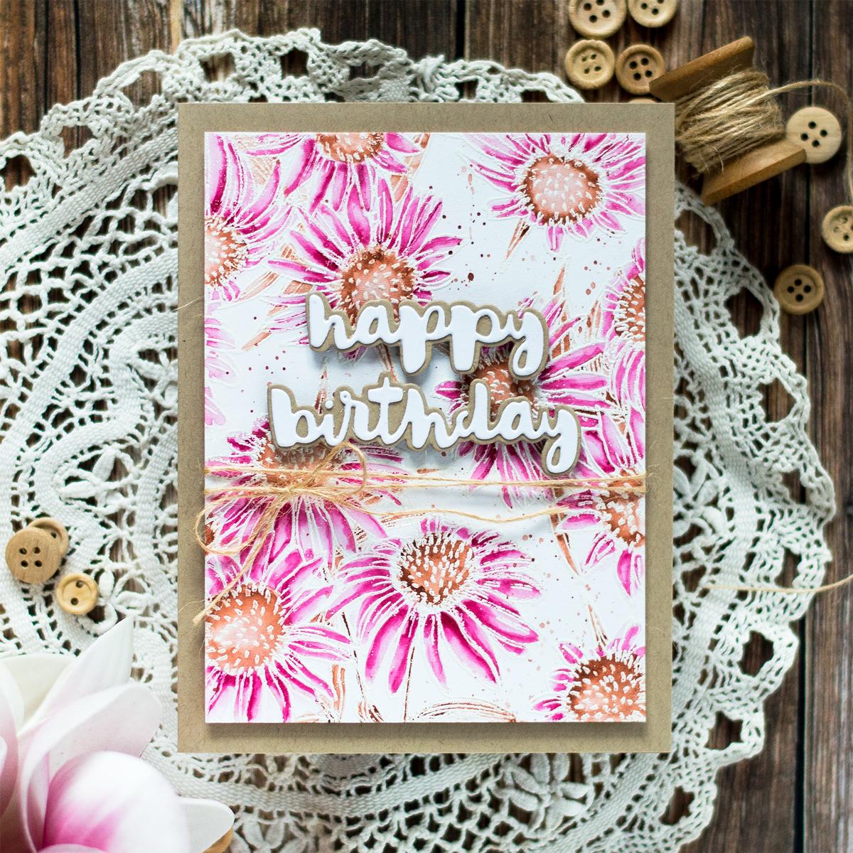 Watercolored Echinacea Birthday card. Card by Svitlana Shayevich