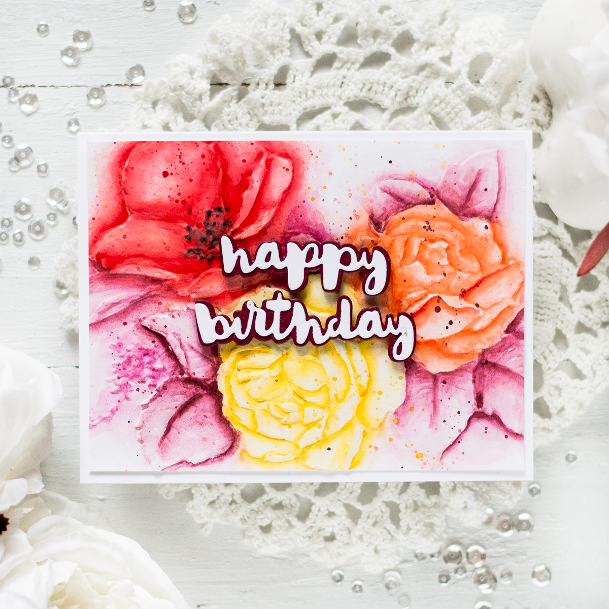 Watercolor Embossed Floral Card. Card by Svitlana Shayevich