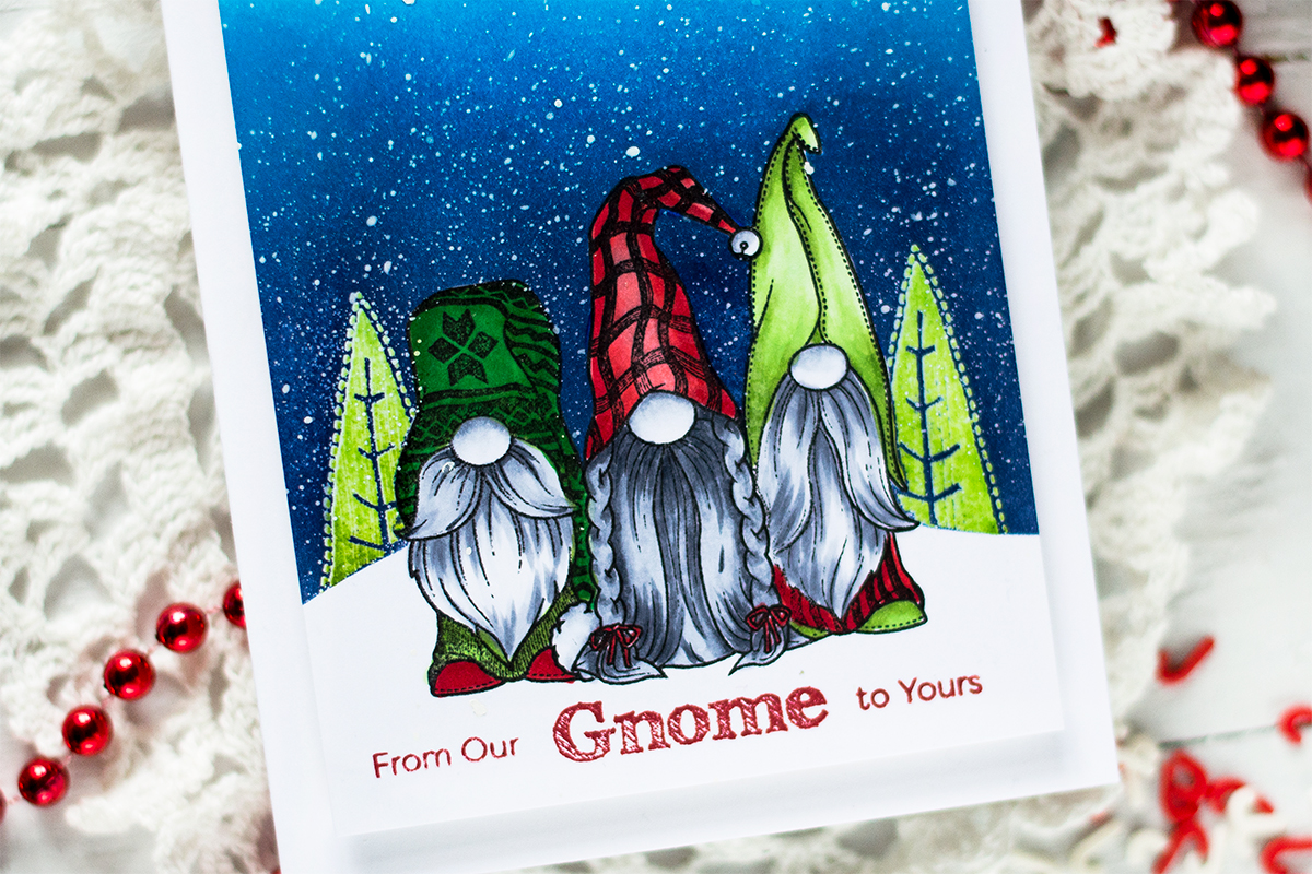 Winter Scene Gnome Christmas Card. Card by Svitlana Shayevich