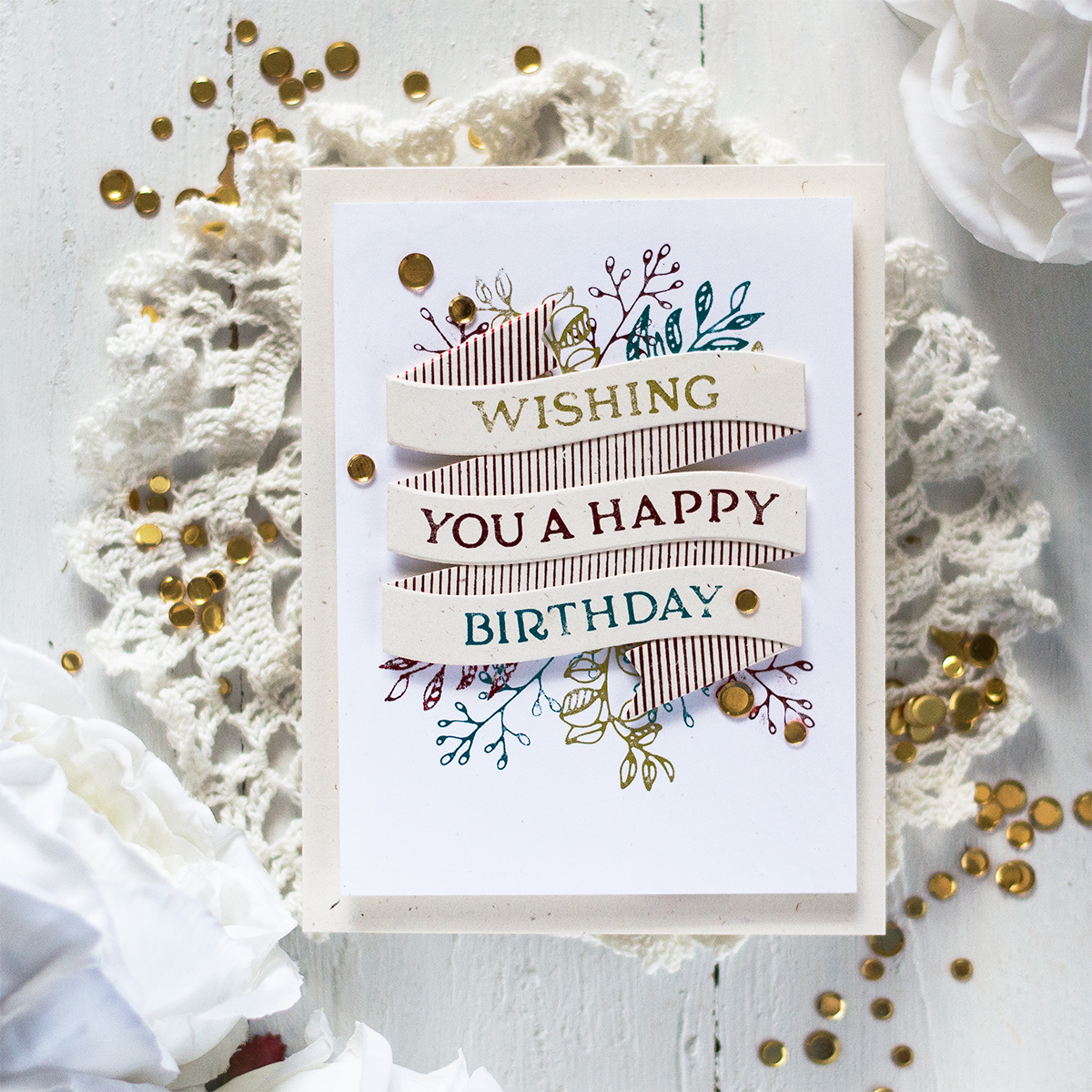 Multi Color Foiled Banner Birthday Card. Card by Svitlana Shayevich