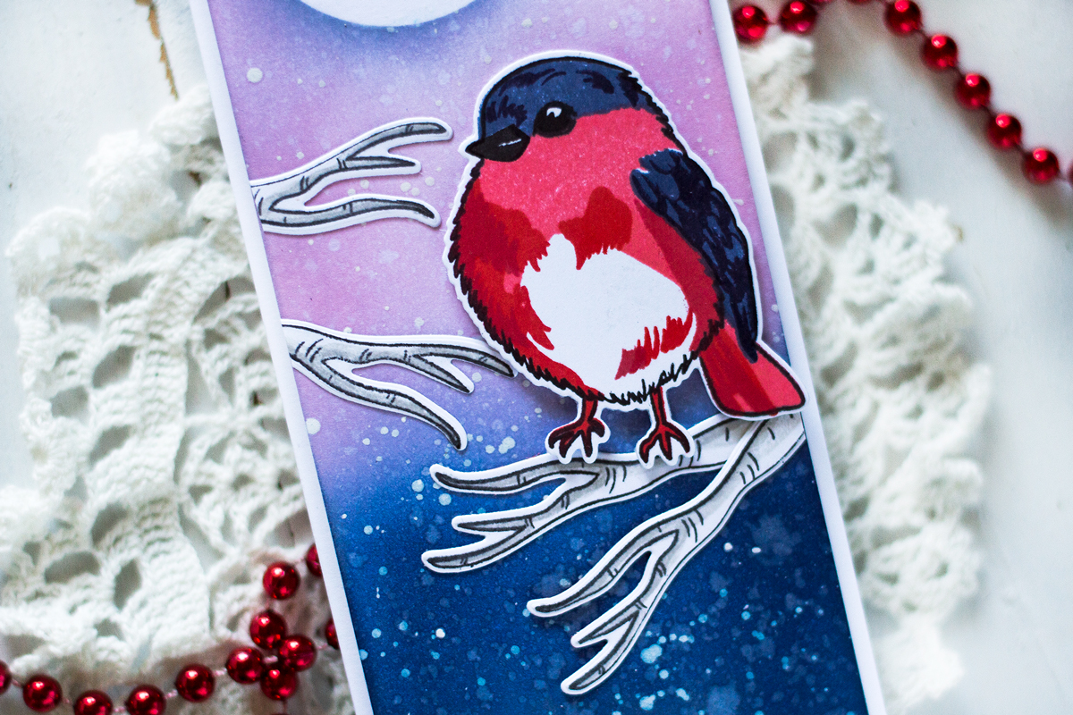 Winter Bird Slimline Card. Card by Svitlana Shayevich