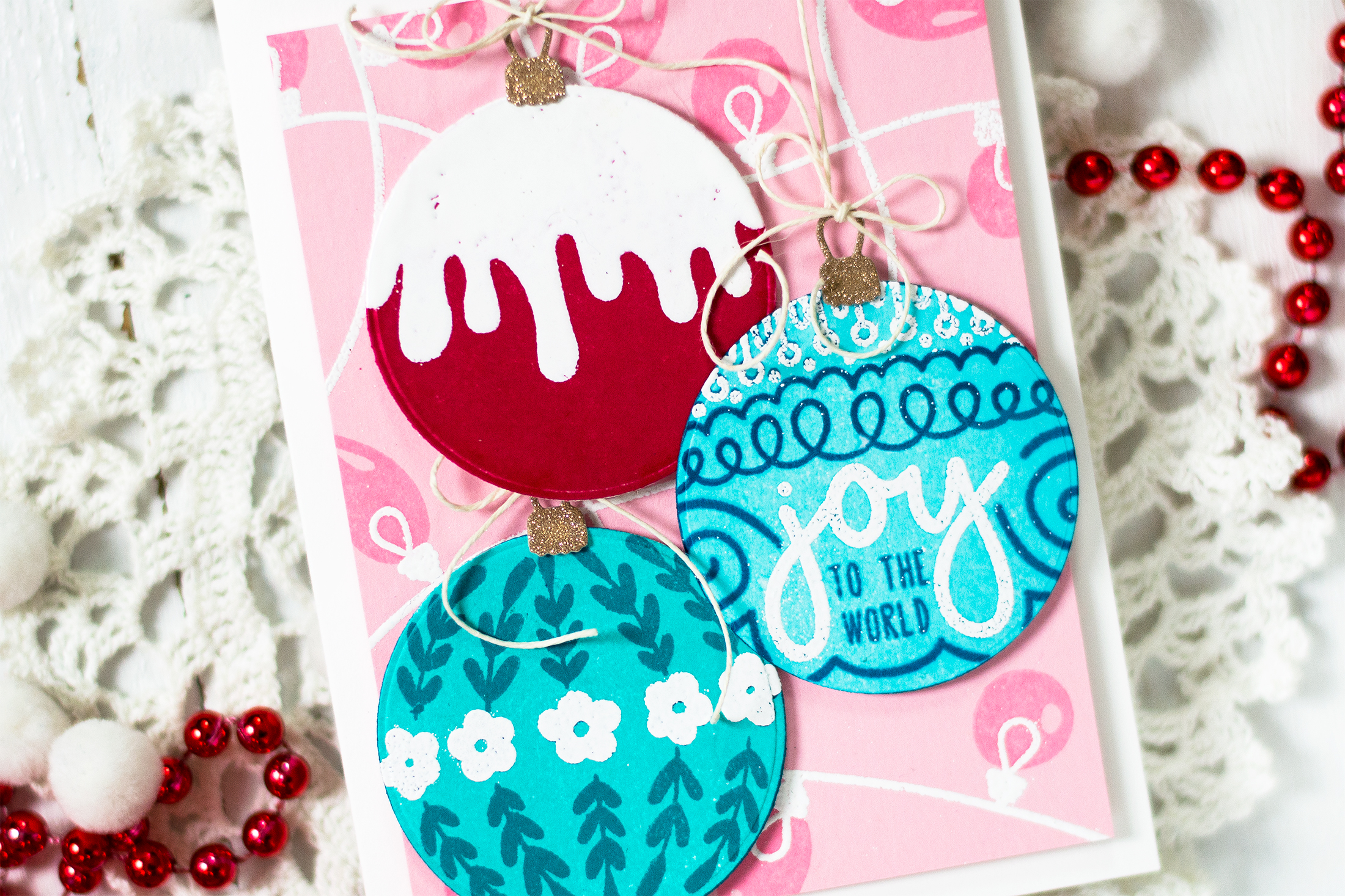 Pink Background Ornaments Christmas Card. Card by Svitlana Shayevich