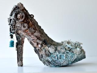 mixed media altered shoe