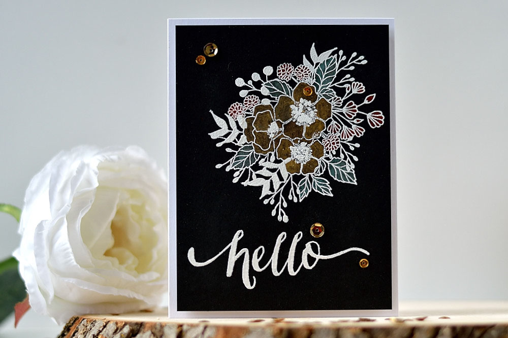 Pearlescent coloring with Wplus9 Botanical Bunch. Card by @s_shayevich