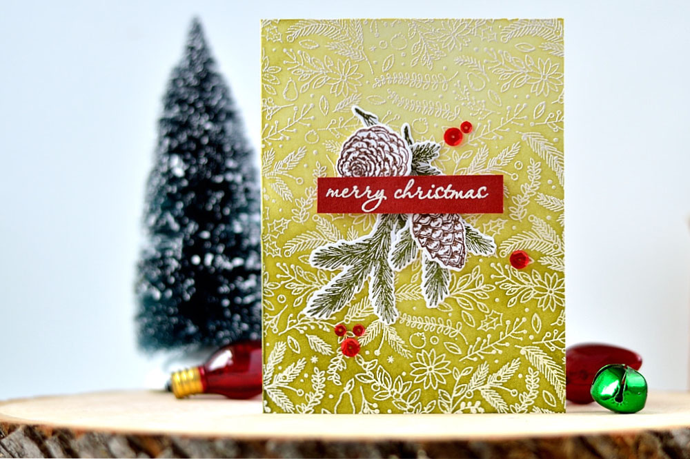 Holiday card featuring ombre background and Hero Arts stamps and dies. Card by @s_shayevich