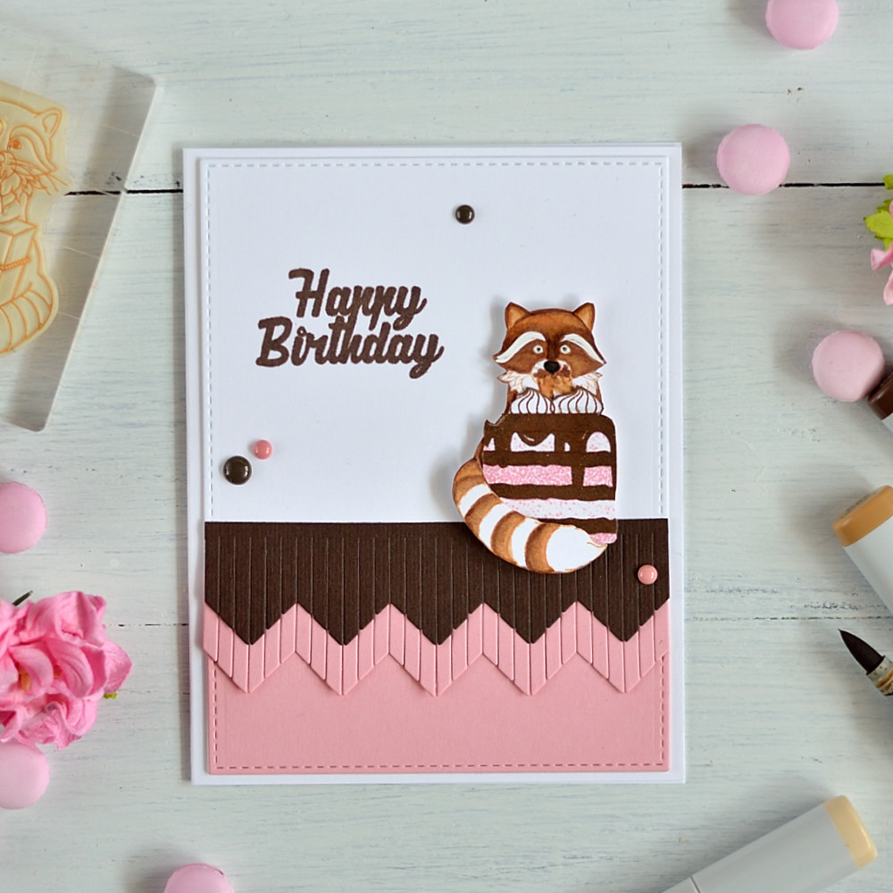 Adorable raccoon with a cake. Stretch your stamps combining different set and altering stamped images. Card by @s_shayevich