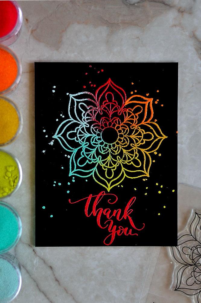 Multi Color Embossed Mandala Flower by Studio Katia. Card by @craftwalks