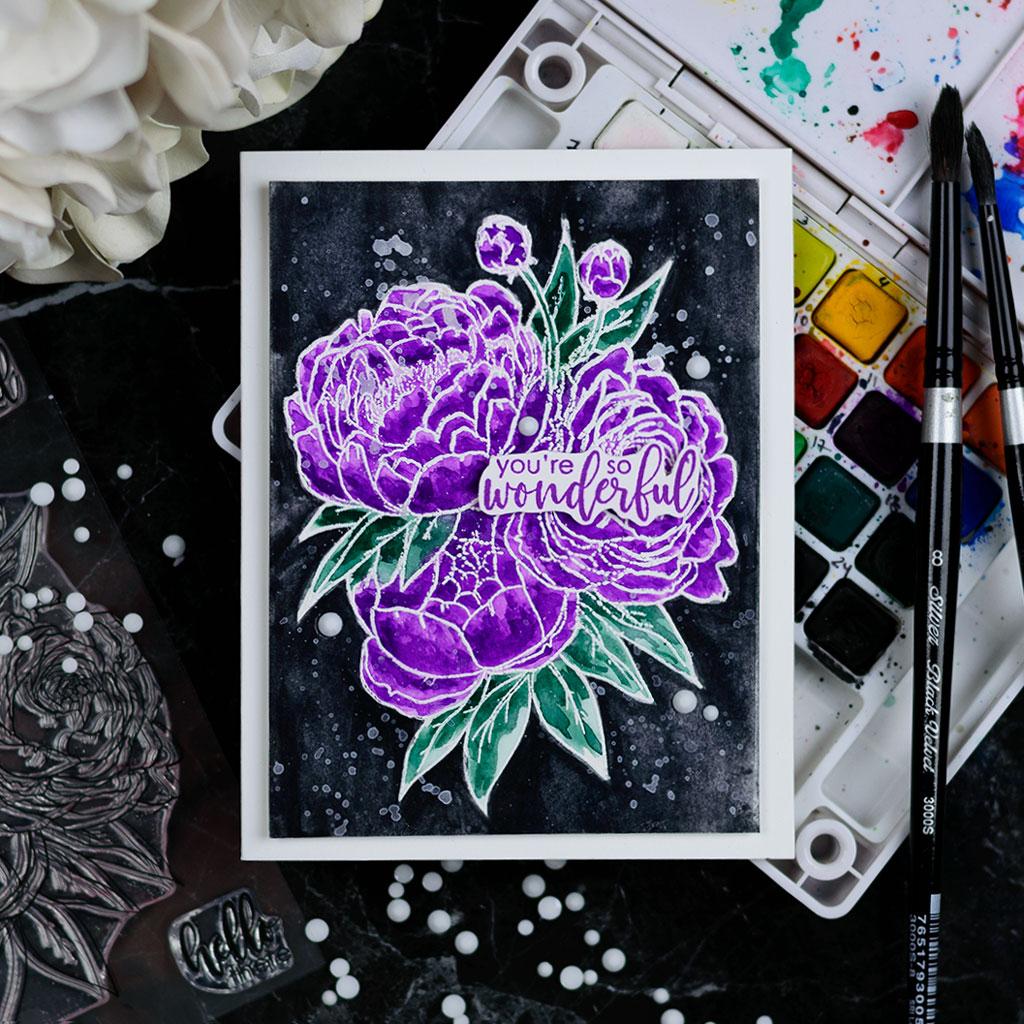 Pantone 2018 Ultraviolet with Studio Katia Blooming Bunch. Card by @craftwalks