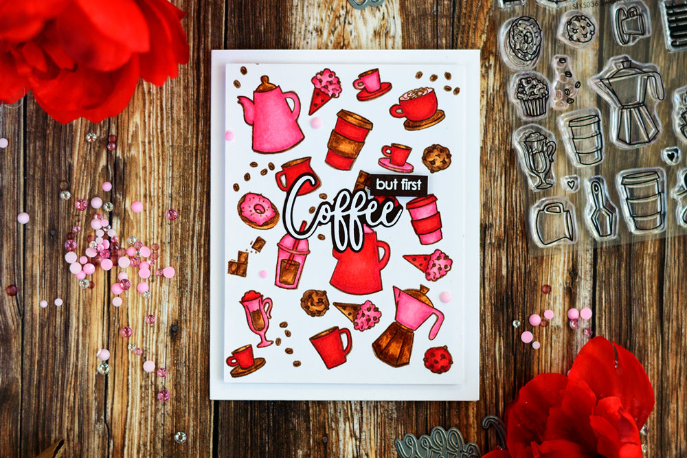 Coffee themed card with COPIC coloring in non-traditional color scheme. Stamps from Studio Katia. Card by @craftwalks